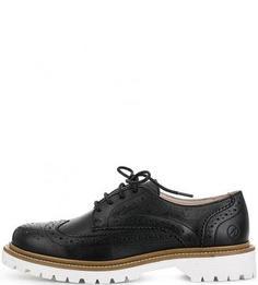Черные кожаные полуботинки с брогированием Bronx