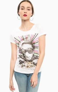 Белая футболка из хлопка с принтом Happiness