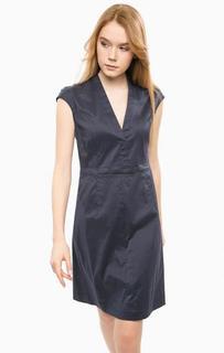 Синее платье с треугольным вырезом Cinque