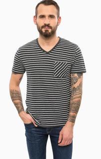 Хлопковая футболка с треугольным вырезом в полоску Tommy Hilfiger