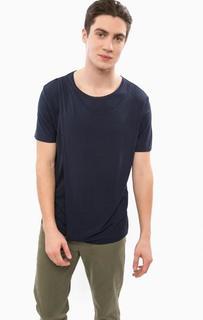 Синяя футболка оригинального кроя Besilent