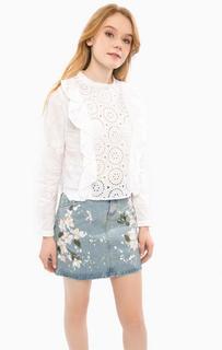 Белая блуза с оборками Glamorous