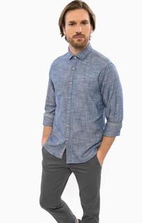 Приталенная хлопковая рубашка синего цвета Cinque