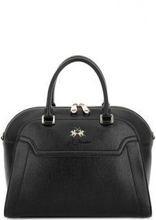 Черная сумка из сафьяновой кожи La Martina