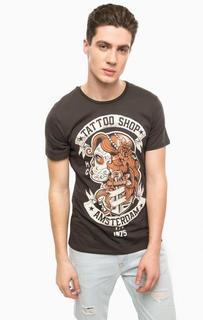 Серая футболка с контрастным принтом Alcott