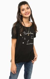 Черная футболка с контрастным принтом Scotch&Soda