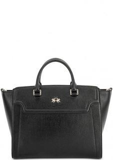 Кожаная сумка с короткими ручками и плечевым ремнем La Martina