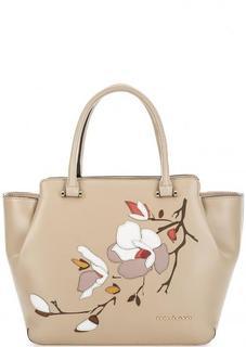 Бежевая кожаная сумка с нашивками Fiato Dream