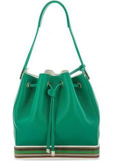 Зеленая кожаная сумка со съемным карманом Gironacci