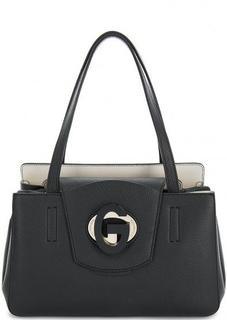 Черная кожаная сумка с длинными ручками Gironacci