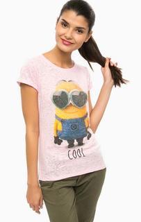 Розовая футболка с принтом Alcott