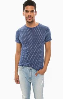 Синяя футболка из хлопка с короткими рукавами Alcott