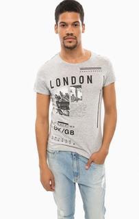 Серая футболка из хлопка с принтом Alcott