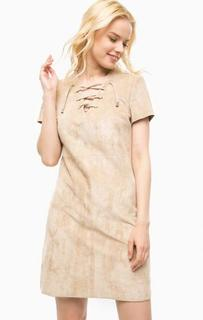 Бежевое платье с вырезом на шнуровке Kocca