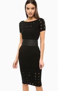 Черное эластичное платье с поясом Marciano Guess