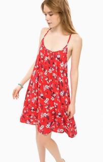 Красное платье с цветочным принтом Pepe Jeans