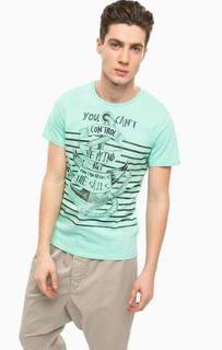 Хлопковая футболка мятного цвета Alcott