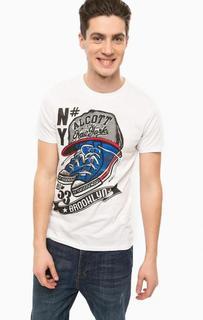 Белая футболка с контрастным принтом Alcott