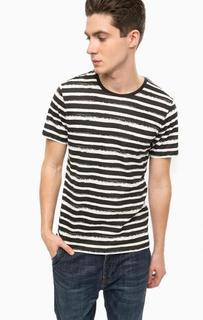 Черная хлопковая футболка в полоску Alcott