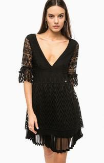 Короткое черное платье с рукавами три четверти Marciano Guess