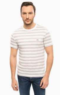 Белая футболка в полоску Lacoste