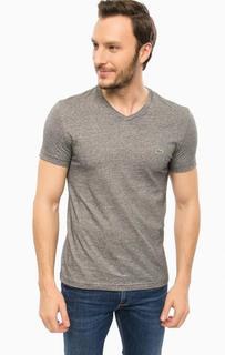 Хлопковая футболка с треугольным вырезом Lacoste