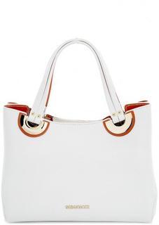 Белая кожаная сумка со съемным ремнем Gironacci