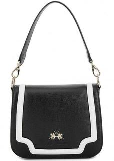 Черная кожаная сумка через плечо La Martina