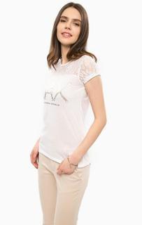 Белая футболка с кружевной вставкой Alcott