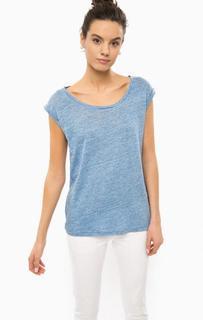 Льняная футболка синего цвета Patrizia Pepe