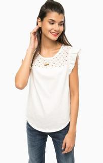 Белая хлопковая блуза без рукавов Scotch&Soda