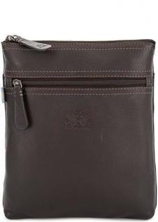Коричневая кожаная сумка с контрастной строчкой La Martina