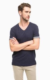 Синяя футболка с треугольным вырезом Tom Tailor Denim