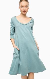 Бирюзовое платье из хлопка с длинными рукавами Think Chic