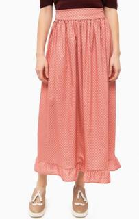 Длинная юбка кораллового цвета с принтом Think Chic