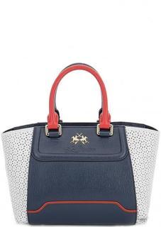 Кожаная сумка с декоративной перфорацией La Martina