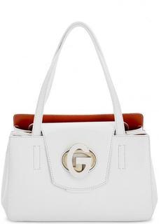 Белая кожаная сумка с длинными ручками Gironacci