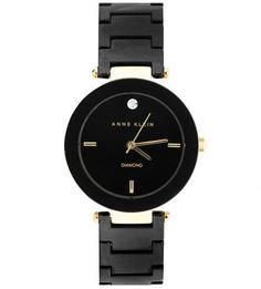 Круглые часы с черными циферблатом и браслетом Anne Klein
