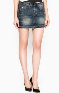 Короткая джинсовая юбка с потеростями G Star RAW