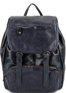 Синий кожаный рюкзак с одним отделом Bruno Rossi