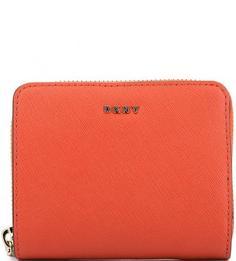 Оранжевый кожаный кошелек на кнопке Dkny