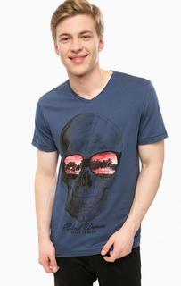 Синяя футболка с треугольным вырезом Blend