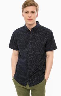 Хлопковая рубашка темно-синего цвета с короткими рукавами Blend