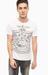 Белая хлопковая футболка с принтом Alcott