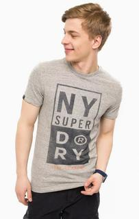 Хлопковая футболка серого цвета Superdry