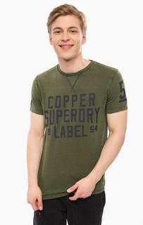 Хлопковая футболка цвета хаки с принтом Superdry