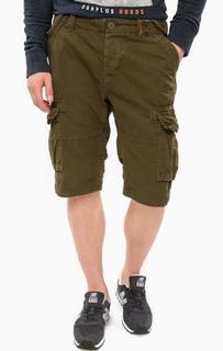 Шорты цвета хаки с накладными карманами Superdry