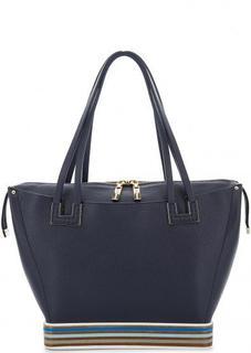 Синяя кожаная сумка с длинными ручками Gironacci