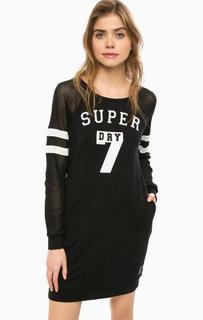 Короткое платье с нашивками и вышивкой Superdry