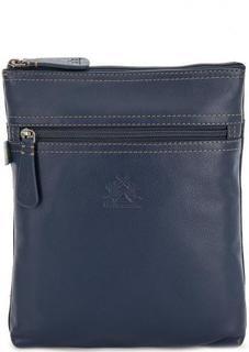 Синяя кожаная сумка с контрастной строчкой La Martina